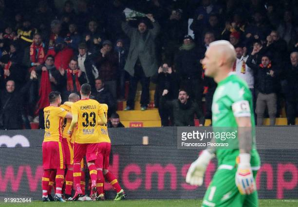 Players of Benevento Calcio celebrate after the 21 goal beside the disappointed Alex Cordaz of FC Crotone during the serie A match between Benevento...