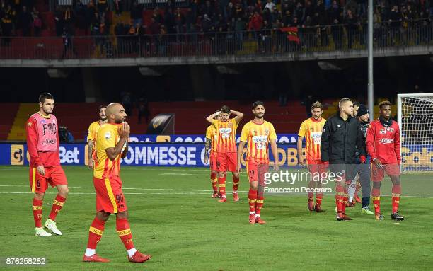 Players of Benevento Calcio show their disappointment after the Serie A match between Benevento Calcio and US Sassuolo at Stadio Ciro Vigorito on...