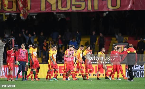 Players of Benevento Calcio show their disappointment after the serie A match between Benevento Calcio and Atalanta BC at Stadio Ciro Vigorito on...
