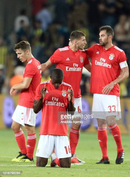 Players of Benfica celebrate after UEFA Champions League third qualifying round's second leg match between Fenerbahce and Benfica at Ulker Stadium in...