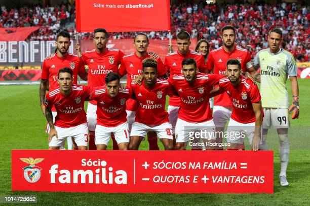 Players of Benfica pose prior the Liga NOS match between SL Benfica and Vitoria SC at Estadio da Luz on August 10 2018 in Lisbon Portugal