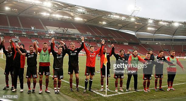 Players of Berlin celebrate after the Third League match between VfB Stuttgart II and FC Union Berlin at the MercedesBenz Arena on February 7 2009 in...