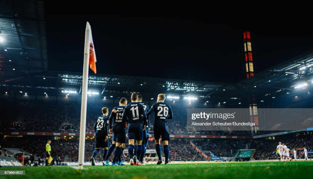 Players of Berlin celebrate the opening goal during the Bundesliga match between 1. FC Koeln and Hertha BSC at RheinEnergieStadion on November 26, 2017 in Cologne, Germany.
