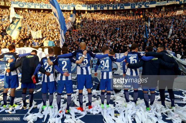 Players of Berlin celebrate with their fans after winning the Bundesliga match between Hertha BSC and Borussia Dortmund at Olympiastadion on March 11...