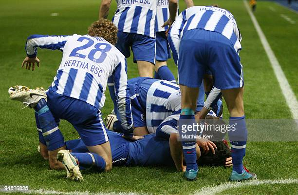 Players of Berlin jubilate after Gojko Kacar scored the first goal during the UEFA Europa League match between Hertha BSC Berlin and Sporting...