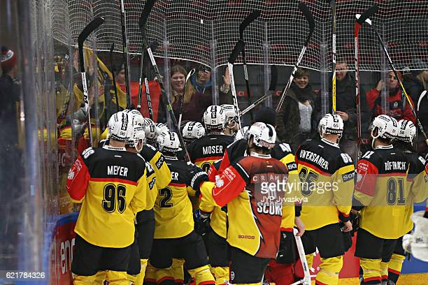 Players of Bern celebrates and greets their fans after the Champions Hockey League Round of 16 match between JYP Jyvaskyla and SC Bern at...