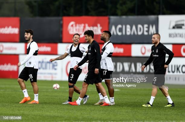 Players of Besiktas attend a training session ahead of the Turkish Super Lig week 9 soccer match against Goztepe at Nevzat Demir facilities in...