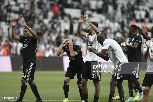 Players of Besiktas celebrate after first soccer match of the 2021-2022 Turkish Super Lig season between Besiktas and Caykur Rizespor in Istanbul,...