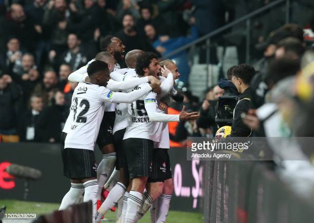 Players of Besiktas celebrate after scoring a goal during the Turkish super Lig soccer match between Besiktas and Trabzonspor at the Vodafone Park in...