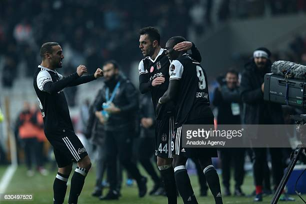 Players of Besiktas celebrate after scoring a goal during the Turkish Spor Toto Super Lig match between Besiktas and Gaziantepspor at Vodafone Arena...