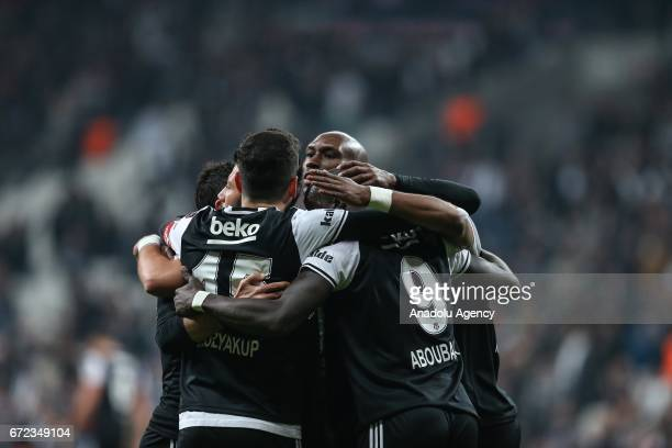 Players of Besiktas celebrate after scoring a goal during the Turkish Spor Toto Super Lig football match between Besiktas and Adanaspor at Vodafone...