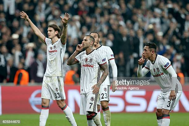 Players of Besiktas celebrate after the UEFA Champions League Group B football match between Besiktas and Benfica at Vodafone Arena in Istanbul...