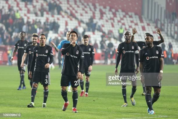 Players of Besiktas celebrate after Turkish Super Lig week 20 soccer match between Antalyaspor and Besiktas at Antalya Stadium on February 03 2019 in...