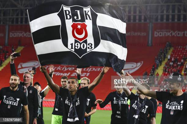 Players of Besiktas celebrate their victory after they won the Ziraat Turkish Cup by beating Fraport TAV Antalyaspor at Gursel Aksel Stadium in...