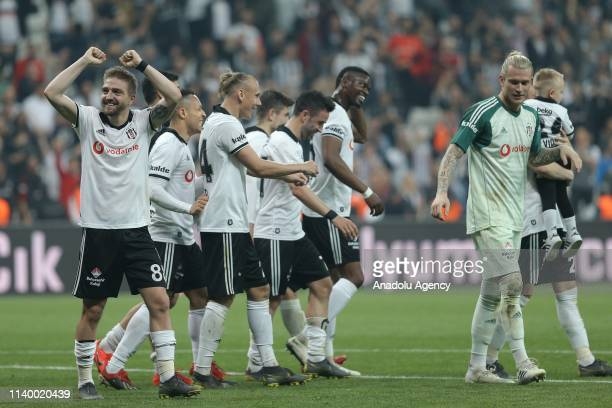 Players of Besiktas celebrate victory after Turkish Super Lig soccer match between Besiktas and MKE Ankaragucu at Vodafone Park in Istanbul Turkey on...