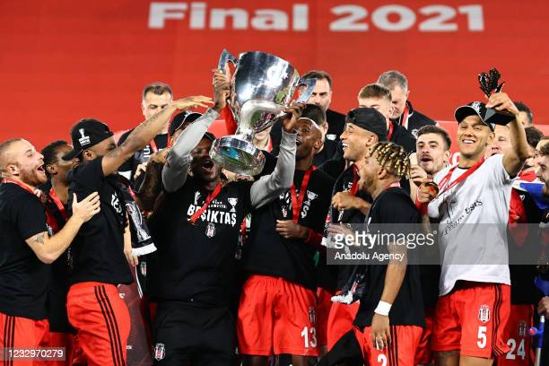 Players of Besiktas celebrate with the trophy after winning the Ziraat Turkish Cup Final match after beating Fraport TAV Antalyaspor at Gursel Aksel...