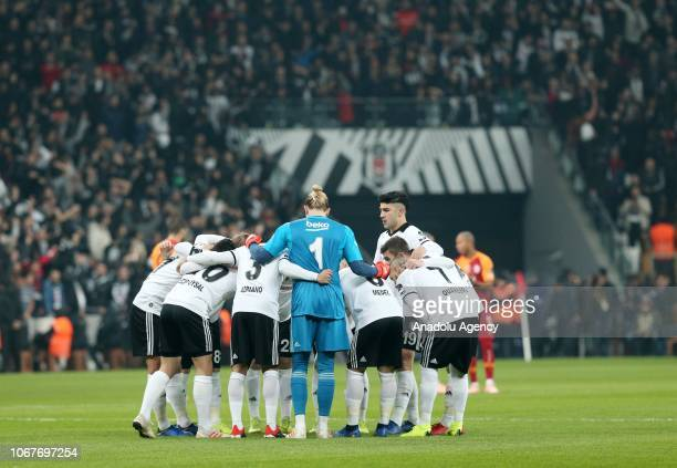 Players of Besiktas gather ahead of the Turkish Super Lig soccer match between Besiktas and Galatasaray at Vodafone Park in Istanbul Turkey on...