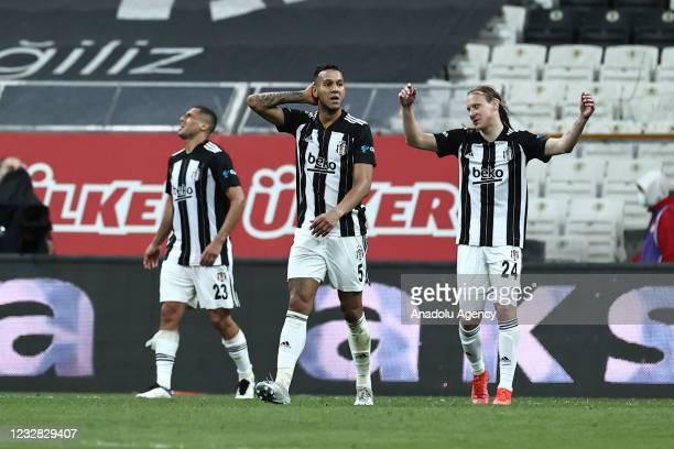 Players of Besiktas gesture at the end of Turkish Super Lig week 41 soccer match between Besiktas and Fatih Karagumruk at Vodafone Arena in Istanbul,...