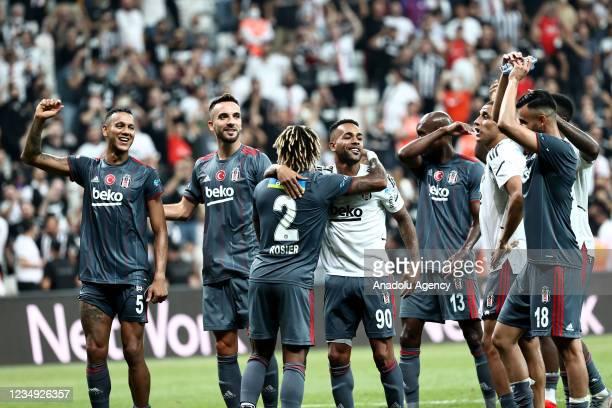 Players of Besiktas greet fans at the end of Turkish Super Lig match between Besiktas and VavaCars Fatih Karagumruk at Vodafone Park in Istanbul,...