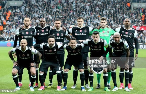 Players of Besiktas JK pose before the UEFA Europa League quarter final second match between Besiktas JK and Olympique Lyonnais at Vodafone Arena in...