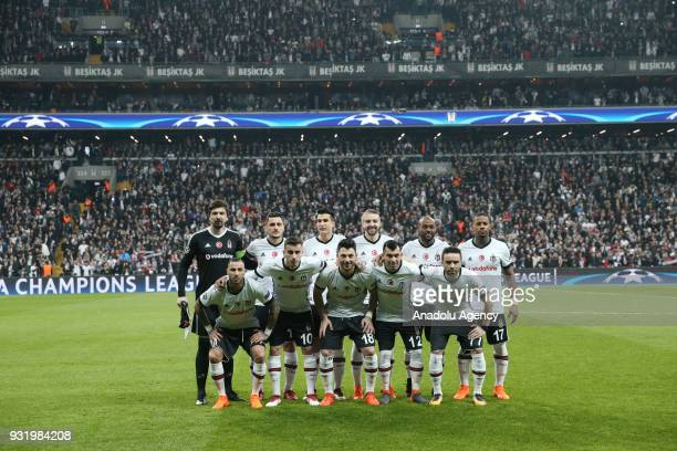Players of Besiktas pose for a photo ahead of the UEFA Champions League Round of 16 soccer match between Besiktas and FC Bayern Munich at Vodafone...