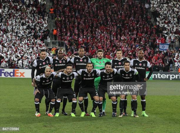 Players of Besiktas pose for a photo ahead of the UEFA Europa League Round of 32 match between Hapoel BeerSheva and Besiktas at Turner Stadium in...