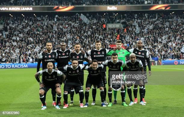 Players of Besiktas pose for a photo before the UEFA Europa League quarter final second match between Besiktas and Olympique Lyonnais at Vodafone...