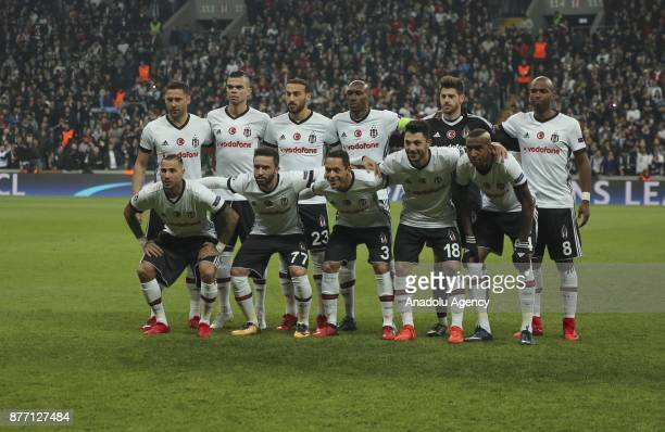 Players of Besiktas pose for a team photo ahead of the UEFA Champions League Group G soccer match between Besiktas and Porto at the Vodafone Park in...