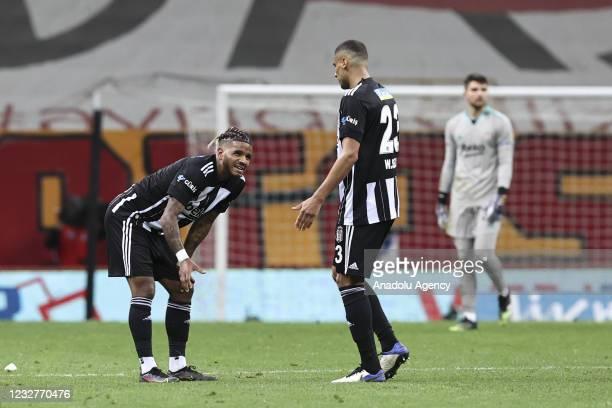Players of Besiktas react after the Turkish Super Lig week 40 football match between Galatasaray and Besiktas on May 08, 2021 at Turk Telekom Stadium...