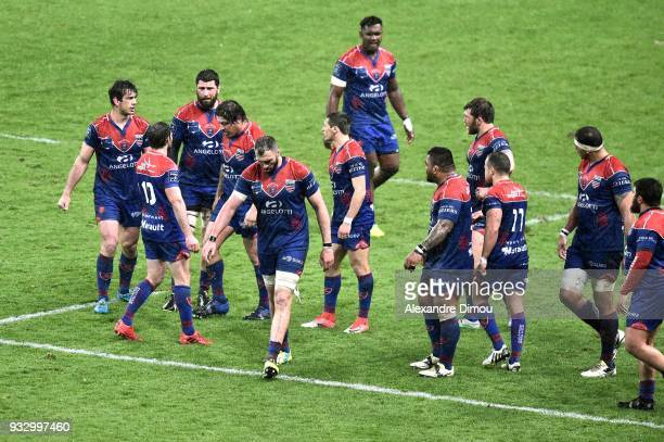 Players of Beziers during the Pro D2 match between Beziers and Montauban on March 16 2018 in Beziers France