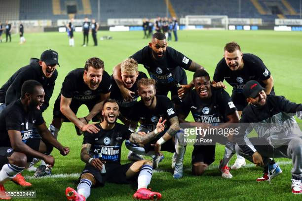 Players of Bielefeld celebrate the Second Bundesliga championship and promotion to the Bundesliga after the Second Bundesliga match between DSC...