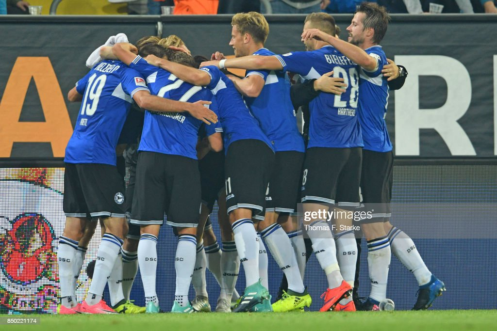 Players of Bielefeld celebrate their teams second goal during the Second Bundesliga match between SG Dynamo Dresden and DSC Arminia Bielefeld at DDV-Stadion on September 20, 2017 in Dresden, Germany.