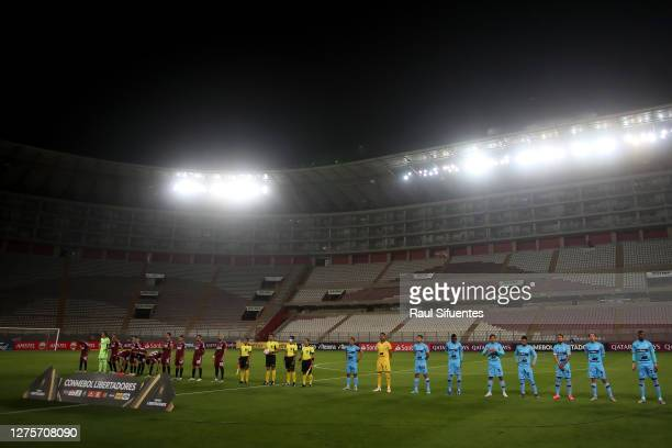 Players of Binacional and River Plate line up before a group D match of Copa CONMEBOL Libertadores 2020 between Binacional and River Plate at Estadio...
