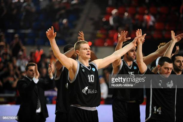 Players of Bizkaia Bilbao Basket celebrate victory in the Bizkaia Bilbao Basket vs Panellinios Opap 3rd Place Playoff Game at Fernando Buesa Arena on...