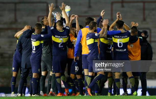 Players of Boca Juniors celebrate after wining the match between Aldosivi and Boca Juniors as part of Torneo Primera Division 2016/17 at Jose Maria...