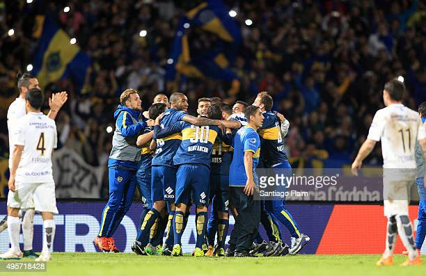 Players of Boca Juniors celebrate after winning a final match between Boca Juniors and Rosario Central as part of Copa Argentina 2015 at Mario...