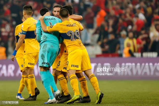 Players of Boca Juniors celebrate the victory after a match between Athletico Paranaense and Boca Juniors as part of Copa CONMEBOL Libertadores 2019...