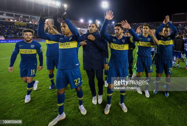 Players of Boca Juniors celebrates after winning a match between Boca Juniors and Alvarado as part of Round of 64 of Copa Argentina 2018 on August 1...