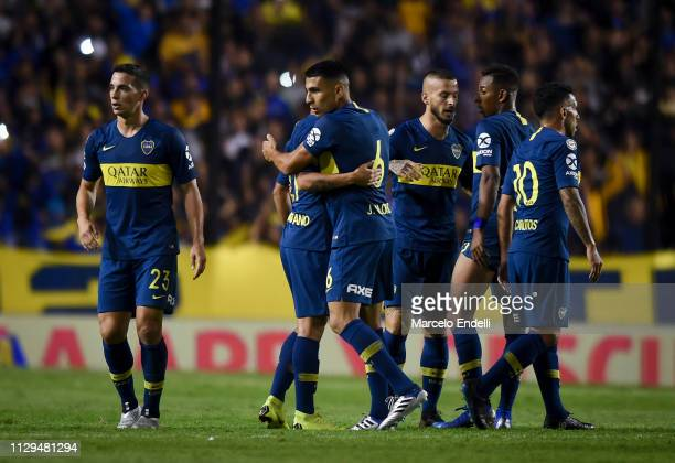 Players of Boca Juniors celebrates after winning a match between Boca Juniors and San Lorenzo as part of Superliga 2018/19 at Estadio Alberto J...