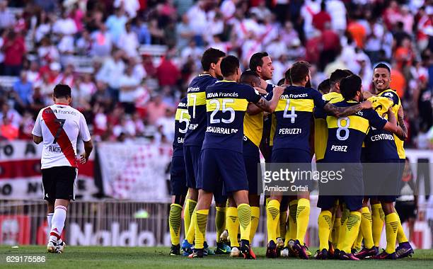 Players of Boca Juniors celebrates after winning the match between River Plate and Boca Juniors as part of Torneo Primera Division 2016/17 at...