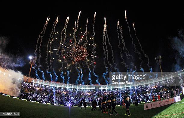 Players of Boca Juniors enter onto the field during a final match between Boca Juniors and Rosario Central as part of Copa Argentina 2015 at Mario...