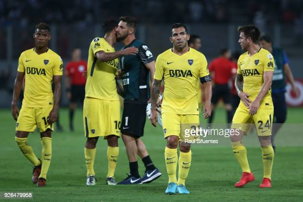 Players of Boca Juniors leave the field after a groups stage match between Alianza Lima and Boca Juniors as part of Copa Conmebol Libertadores 2018...