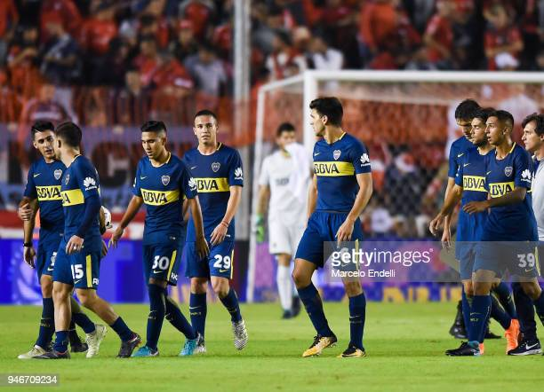 Players of Boca Juniors leave the field at the end of the first half during a match between Independiente and Boca Juniors as part of Superliga...