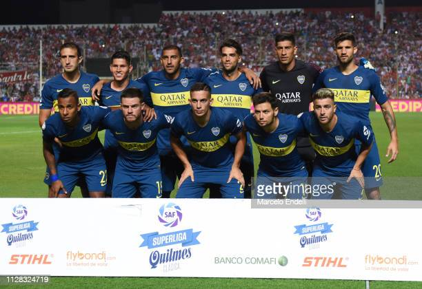Players of Boca Juniors pose for a photo prior a match between Union and Boca Juniors as part of Superliga 2018/19 at Estadio 15 de abril on March 1...