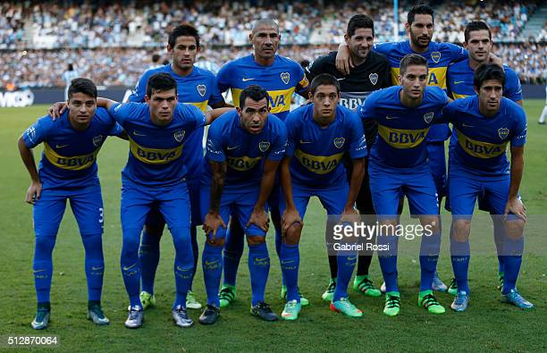 Players of Boca Juniors pose for a photo prior the fifth round match between Racing Club and Boca Juniors as part of Torneo Transicion 2016 at...