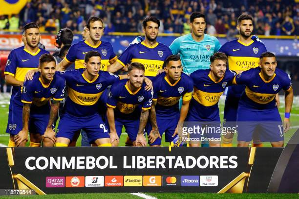 Players of Boca Juniors pose for a team picture prior the Semifinal second leg match between Boca Juniors and River Plate as part of Copa CONMEBOL...
