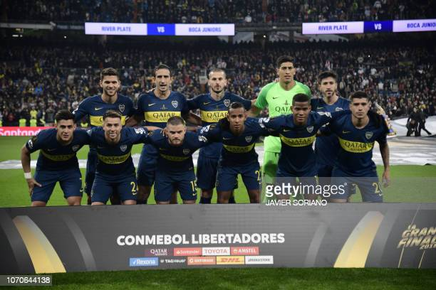Players of Boca Juniors pose for pictures before the start of their second leg match of the allArgentine Copa Libertadores final against River Plate...
