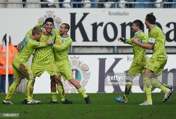 Players of Bochum celebrate their teams second goal during the Second Bundesliga match between Arminia Bielefeld and VfL Bochum at the Schueco Arena...
