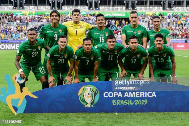 Players of Bolivia pose for the team photo ahead of the Copa America Brazil 2019 group A match between Bolivia and Venezuela at Mineirao Stadium on...