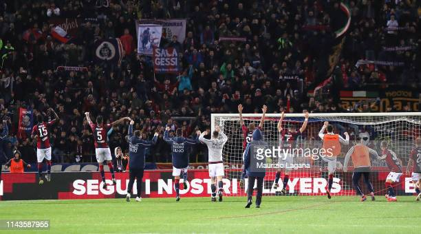 Players of Bologna celebrate after the Serie A match between Bologna FC and Parma Calcio at Stadio Renato Dall'Ara on May 13 2019 in Bologna Italy